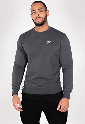 ALPHA INDUSTRIES Herren Basic Sweater Small Logo Sweatshirt, 136 Greyblack Cotton Molton Brushed, L