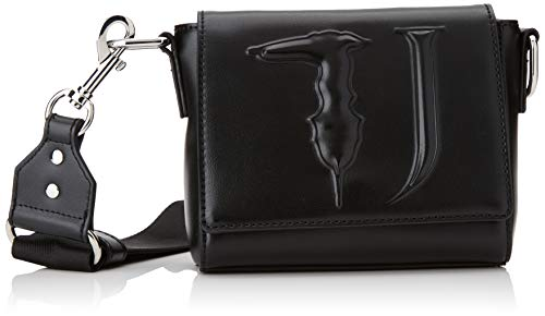 Trussardi Jeans T-Easy Cacciatora Monocolor, Borsa a Tracolla Donna, Nero (Black On Tone), 14x16x6 cm (W x H x L)