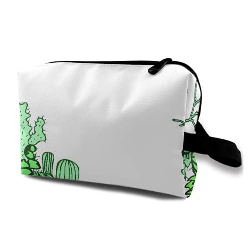 Neceser Colgante de Viaje,Colección de The Doodles Cactus Mexico Background,Organizador de Maquillaje cosmético Bolsa de higiene y Organizador de Ducha