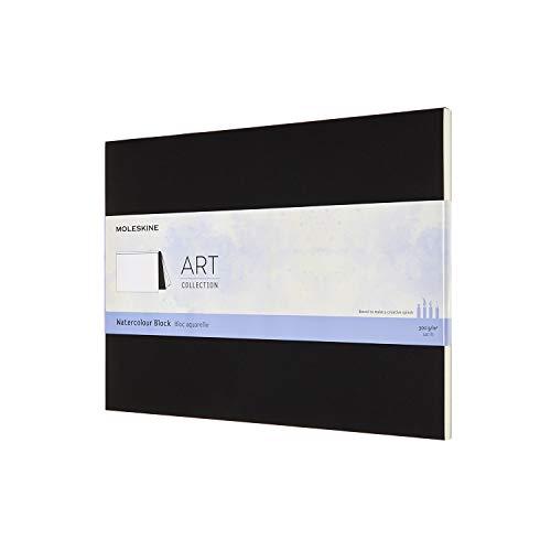 Moleskine Art Collection Watercolour Block Blocco da Disegno per Acquerello, Album con Carta per Acquerelli, Copertina in Cartoncino, Formato 23 x 31cm, Nero, 20 Pagine