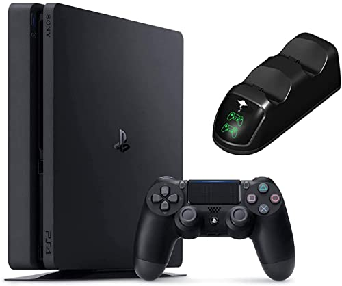 Sony Playstation 4 1TB Console - Black PS4 Slim Edition with 1TB Storage, one DS4 Wireless Controller W/Charging Station Dock Bundle