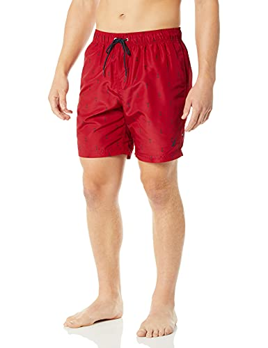 Nautica Men's Standard Quick Dry All Over Classic Anchor Print Swim Trunk, Red, Large