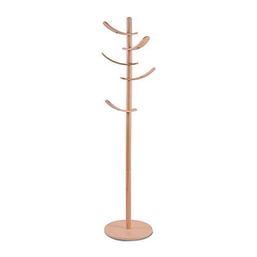 Yakers collection Wooden Coat Rack 5 Rotatable Hooks Hall Tree Coat Racks Free Standing with Adjustable Size Easy Assembly Entryway Coat Hanger Stand for Cloths Hat Scarves HandbagsNature