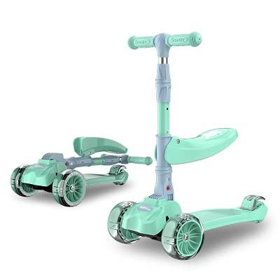 BSQT Dos Estilos de Candy Color Choice 3 Wheel Kids Scooter para niños pequeños envejecidos de 2 a 13 años, triciclos Deportivos con Altura Ajustable y Flicker LED Big Wheels Kick Sport Scooter