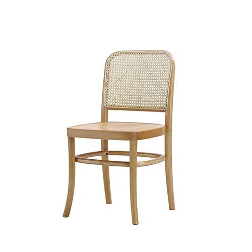 Silla de Madera Maciza nórdica Hogar de la Silla de Comedor para el hogar Restaurante de Madera Mesa y sillas de ratán,Metálico