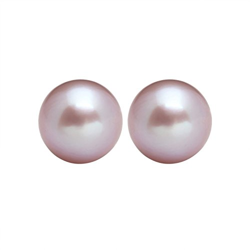 Sterling Silver Stud Freshwater Cultured Pearl Earring Button Handpicked AAA+ Quality Pearl (Purple 10-10.5mm)