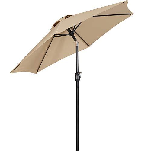Yaheeetch Sombrillas Terraza 230cm Inclinable Parasol para Jardín con Manivela Impermeable Proteccion UV para Patio, Exteriores, Junto a Piscina, Restaurante y Cafetería