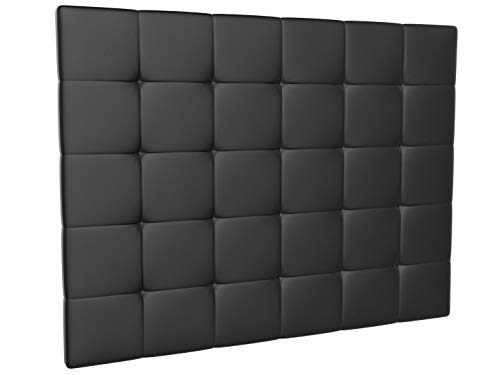 LA WEB DEL COLCHON - Cabecero tapizado Corfú para Cama de 210 (220 x 120 cms) Negro | Cama Juvenil | Cama Matrimonio | Cabezal Cama |