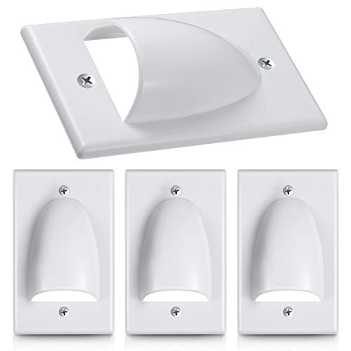 4 Pieces Single Gang Bundled Cable Wall Plate for Cabling Cable Dust-Proof Plate Internal Management Convex Audio Video Cable Pass Through Nose Plate