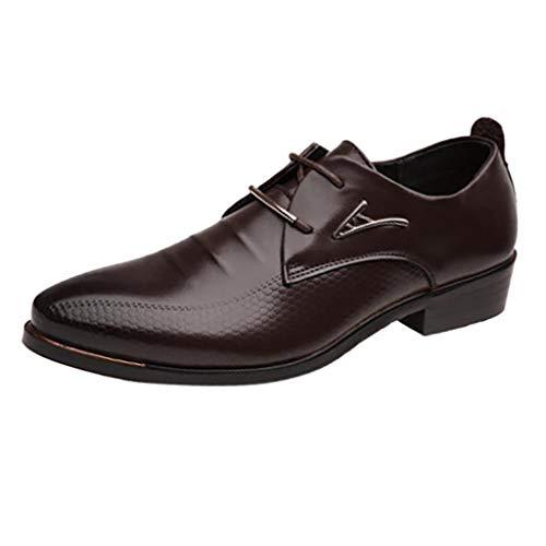 MMOOVV Herren Lederschuhe, Mode Herren Trend Business Schuhe für Papa Ehemann Freunde Freizeitschuhe Hochzeitsanzug Schuhe (Braun 47EU)