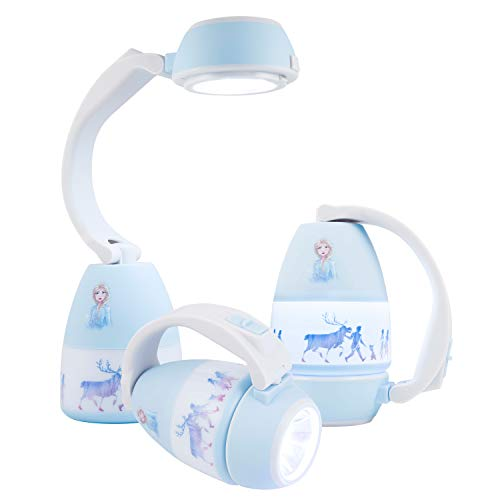 Disney Frozen Anna and Elsa 3 en 1 Linterna LED, paquete único, luz nocturna, funciona con pilas, 200 lúmenes, alta/baja/apagada,...