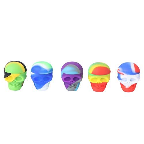 Cabilock 5 Uds Contenedores de Cera de Silicona Cera de Calavera Tarro de Silicona Caja de Transporte de Cera para Concentrado Aceite Cera Color Aleatorio