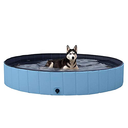 YAHEETECH Blue Foldable Hard Plastic Dog Pet Bath Swimming Pool Collapsible Dog Pet Pool Bathing Tub Pool for Pets Dogs Cats-63 x 11.8 inch,XXL