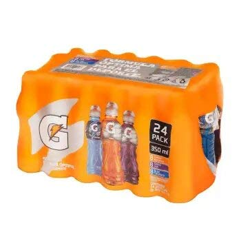 Gatored. 24 botellas de 350ml cada una. 8 sabor naranja, 8 sabor moras, 8 sabor...