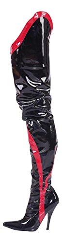 Crotch Overknee High Heels schwarz rot Gr 36-46 Neu (37)