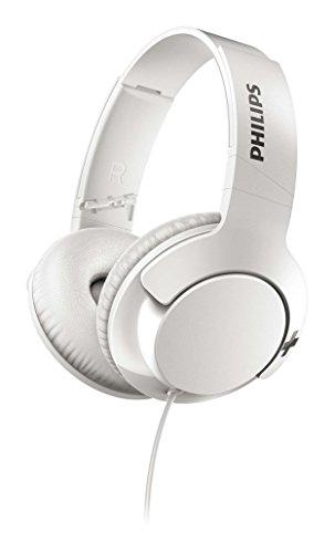 Philips SHL3175WT BASS+ Over-Ear Kopfhörer (mit Mikrofon, Fernbedienung, satter Bass, Freisprechfunktion) weiß