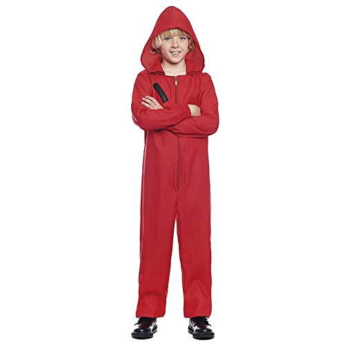 Mono Rojo Trabajo de Disfraz con Cremallera y Capucha Niños (10-12 años) (+Tallas) Halloween y Carnaval