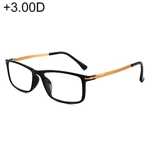 JSANSUI Goedkope leesbril zwart montuur ontspiegeld scharnier Anti Fatigue & Blue-ray Presbyopie bril, (+ 3,00 D)