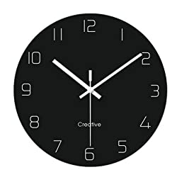 Glass Wall Clock 12 Inch Modern Minimalist Clock Silent Non Ticking Table Living Room Classic Ultra-Thin Minimalist Creative Wall Clock Mute Round Black