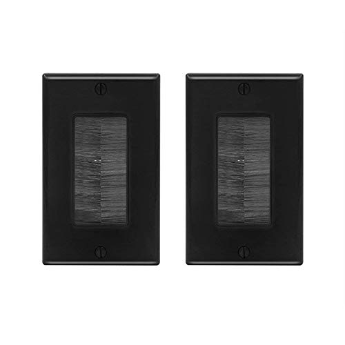 VCE 2-Pack Single Brush Wall Plate Cable Pass Through Insert for Wires, Single Gang Cable Access Strap, Wall Socket for HDTV, Home Theater Systems - Black