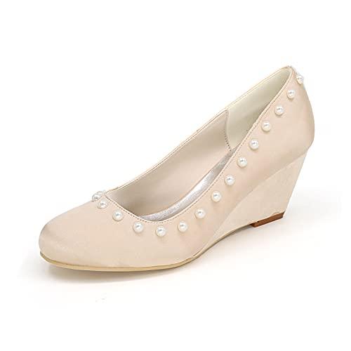 Zapatos De Novia Cómodos para Mujer Zapatos De Cuña De Satén Zapatos...