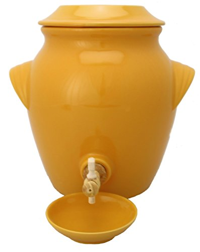 Bouchonnerie Jocondienne 1302 Vinaigrier 4 L avec coupelle Jaune + bonde liège et Robinet Bois, Verre, 24 x 24 x 32 cm