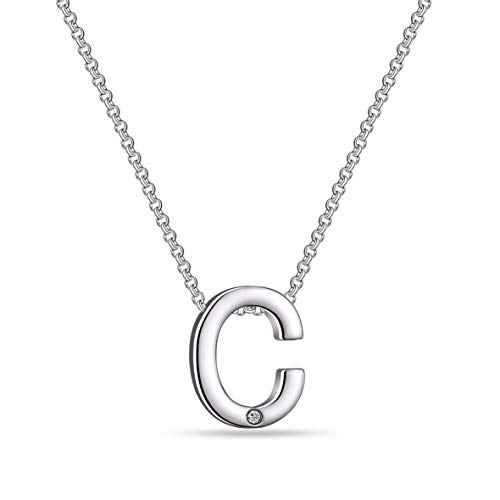 Initial Necklace Created with Austrian Crystals - Letter C