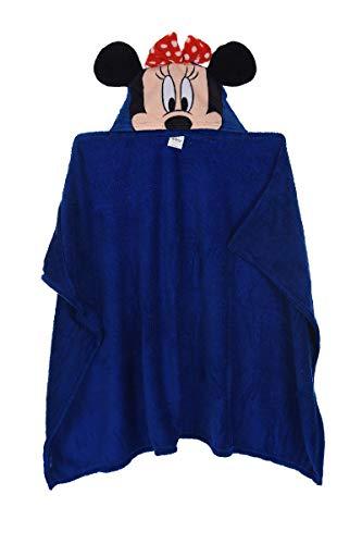 Minnie Maus Badetuch Bademantel Kapuzen Badeponcho Poncho für Kinder aus Fleece, 80 x 120 cm, blau