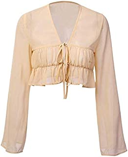 Summer New Trumpet Sleeves Cardigan Blouse Sexy Perspective Chiffon Shirt (Color : Beige, Size : S)