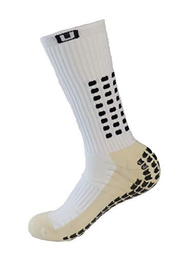 PreSox, calze sportive unisex con pallini in gomma per una maggiore aderenza, perfette per calcio, baseball e football, con parastinchi, White, Taglia unica