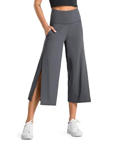 Dragon Fit Women Bootleg Yoga Capris Pants with Pockets Tummy Control High Waist Workout Flare Crop Pants (Large, Dark Grey)