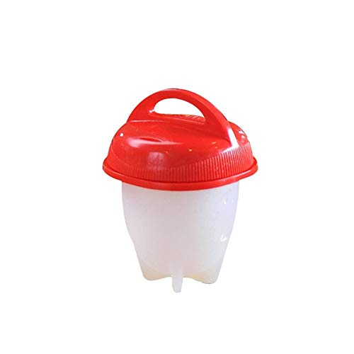 Zihuist Fornello per Uova - Bollitore per Uova sode Senza Guscio, Contenitore per Uova per Snack, Cuocere per Uova Silicone Antiaderente (Color : White+Red, Size : 1)