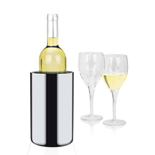 Modern Innovations Stainless Steel 750 mL Wine Chiller - No Ice Needed - Double Wall Insulated Wine Chiller - Mirror Finished Wine Chiller Bucket - 304 Stainless Steel Wine Chiller Silver