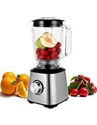 800W Plastic jar Smoothie Blender, Kitchen System 1.8L Brushed Stainless Steel Pro Fruit Mixer Food Processor BPA-Free-Two Speed Control with Safety Lock Device-Black