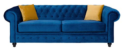 Sofas and More Hilton Chesterfield style Sofa Navy Blue French Velvet fabric 3+2 Seater Set (3 Seater)