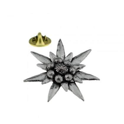 Großes englisches Zinn-Anstecknadel-Abzeichen Edelweiss