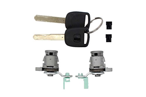 Pair of Front Left Driver LH Side & Right Passenger Side RH Door Lock Cylinder Keys Set For Honda Accord 1998-2002,Civic 2001-2005,Odyssey 1999-2004, S2000 2000-2009