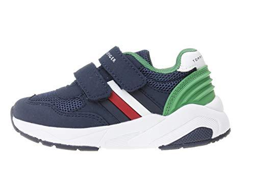Tommy Hilfiger Kinder Schuhe Low Cut Lace-Up Sneaker Blue/Green Sneaker für Jungs, Farbe:Blau, Größe:EUR 31