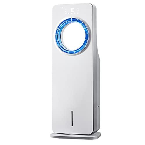 3 Velocidad Del Refrigerador De Aire Ventilador LCD Portátil Ventilador Y Humidificador Con Control Remoto, Ventilador De Torre Sin Brocha Con Temporizador De 12H, Para Oficina En Casa, Blanco