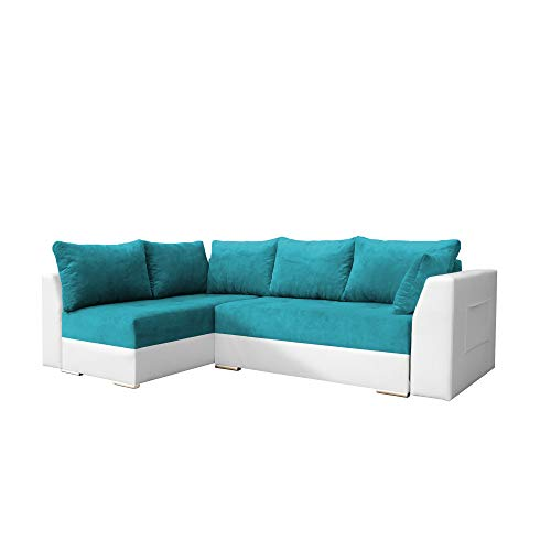 mb-moebel Ecksofa mit Schlaffunktion Eckcouch mit Zwei Bettkasten Sofa Couch Wohnlandschaft L-Form Polsterecke Laos (Türkis + Weiß, Ecksofa Links)