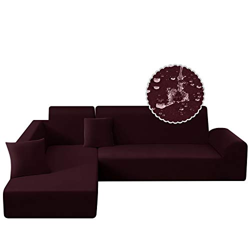 TAOCOCO Water Resistance Sectional Couch Covers 2pcs L-Shaped Sofa Covers Stretch Sofa Slipcovers with 2pcs Pillowcases L-Type Polyester Fabric Softness Sofa Covers 3 Seats +3 Seats (Wine)