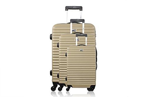 Bluestar Set de 3 trolleys rígidos BD-12022 Champán 70 cm