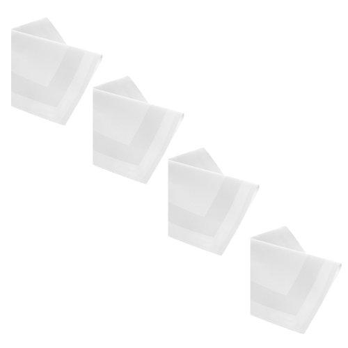 DecoHometextil Lot de 12 serviettes 50 x 50 cm, bordure ourlée, 100 % coton, Blanc