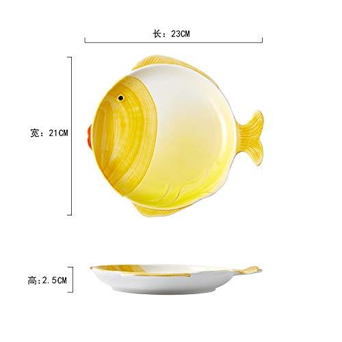 Vajilla de dibujos animados para niños platos de cerámica tazones y platos para el hogar juego de tazón de desayuno platos simples porcelana personalizada amarillo 21 * 23 cm