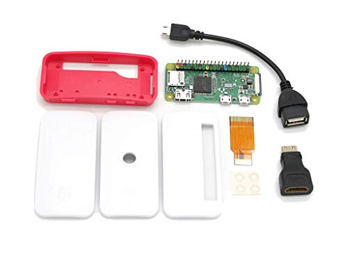 Raspberry Pi Zero WH with Pre-soldered Color Coded GPIO Headers Built-in WiFi and Bluetooth 4.1 512MB RAM 1080P HD with Official Case