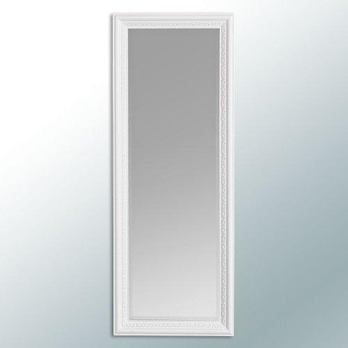 LEBENSwohnART Wandspiegel Argento barock 160x60cm Spiegel weiß-Matt Holzrahmen und Facette