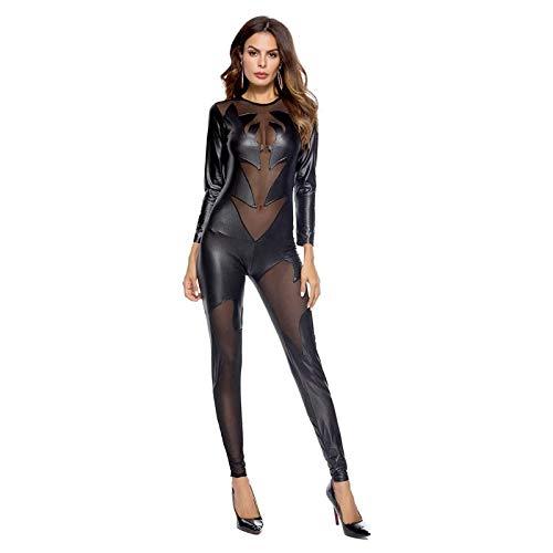 Shhyy Disfraz Sexy de Gato de Piel de Serpiente a Rayas Club DS Lacado, Traje Ajustado, Mono de Piel de Serpiente Catwoman, Disfraz Completo de Fiesta,M