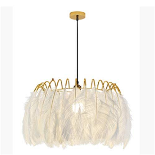 Vobajf Pantalla de lámpara Pantalla de Plumas Cálida y romántica Sala de Estar nórdica Chica Creativa Post-Moderno Lámpara de Plumas (Color : White, Size : 160x50cm)