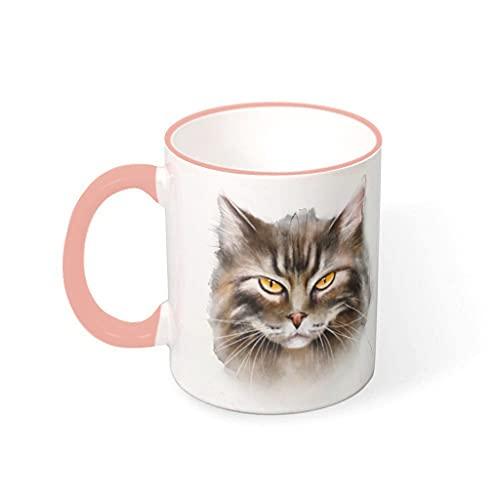 COMBON Shop Taza de café con tinta de cara de gato con mango de cerámica estilo retro taza - Regalo de Halloween vcbe 330ml