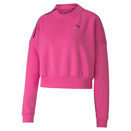 PUMA Damen Train Zip Crew Sweatshirt Pullover, Luminous Pink, L